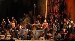 Production scene with the Metropolitan Opera Chorus