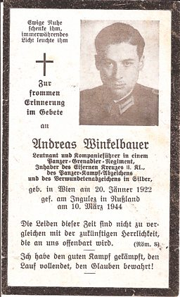 4.	The card announcing the death of Andreas at the Russian front on 10th March 1944