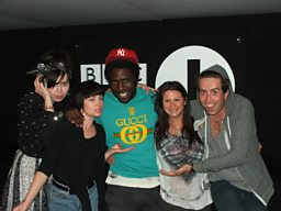 Kele and Grimmy with Kele's entourage.