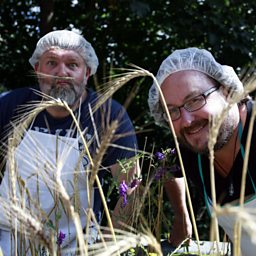 Hairnets and grass moustaches