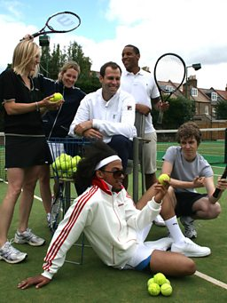 Jo gets some tennis coaching from Greg Rusedski