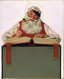 Norman Rockwell, No Christmas Problem Now - Santa with a Parker Pen (1929)