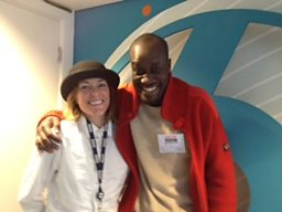Poet and musician Musa Okwonga with Cerys