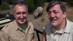Stephen Fry and Mark Carwardine in Kenya