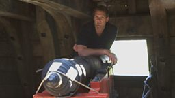 Photo: Dan Snow with a cannon