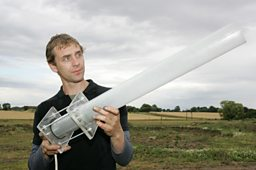 Jem with his homemade see-through cannon