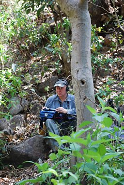 Chris Watson recording in Corbett Tiger Reserve