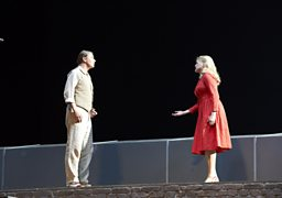 Klaus Florian Vogt as Boris, and Janice Watson as Katya