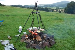Scottish breakfast on a hillside