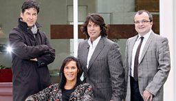 Des Ewing; Suzanne Garuda; series presenter Laurence Llewelyn Bowen and judge Michael Dunn.