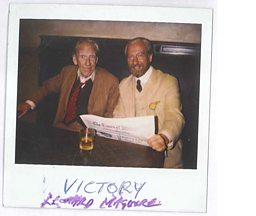Old Polaroid of Leonard Maguire and Bill Paterson together on the set of Victory