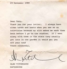 Alan Titchmarsh Letter