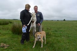 Clare and Pen Farthing with Nowzad and Tali