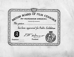 An Early BBFC Certificate 