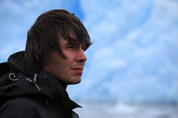 Prof Brian Cox at the Perito Moreno glacier in Patagonia, Argentina