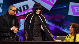 Photo: DJ Ironik, Noel Fielding and Carol Vorderman