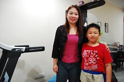Shirley Chua and her nine year old son Aw Yee Han