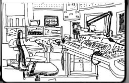 Guy Delisle's cartoon drawing of the BBC studio in Jerusalem.