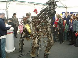 A mechanical horse made from old wheelchairs