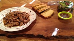 Carolina Barbecued Pulled Pork, Bread & Butter Pickles, Cornbread