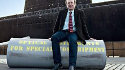 Ben Macintyre with the canister and the type of vessel used to transport the body.