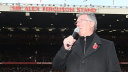 Sir Alex Ferguson at Old Trafford on his 25th anniversary as manager of Manchester United