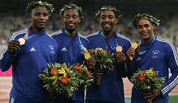 The victorious British 4x100 relay champions