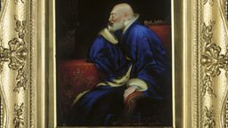An enamel portrait of George III depicted as an elderly man by Joseph Lee (1780-1859)