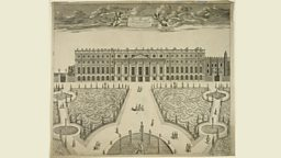 An Exact Prospect of Hampton Court, an etching by Sutton Nicholls (fl.1680-1740)
