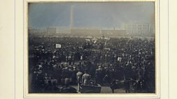 Daguerreotype recording the Chartist Meeting on Kennington Common 4 October 1848, acquired by Prince Albert