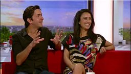 Justin and Anita on the BBC Breakfast sofa