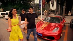 Anita Rani with a supercar and some rich young Chinese men