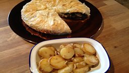 Chicken, Kale & Mushroom Duxelle Filo Pie with Lyonnaise Potatoes