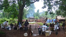 MSF Yaws treatment camp in the Congo rainforest