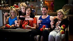 Stevie, Penny, Miranda, Gary and Tilly sitting on a sofa.