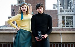 Karen Gillan and Aneurin Barnard on a New York rooftop