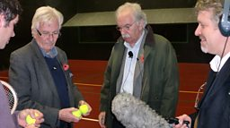 Conor Medlow (real tennis player),  Chris, Des and Paul talking balls...real tennis balls