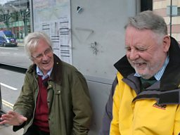 Christopher and Terry share a joke waiting for a bus to St Paul's Cathedral
