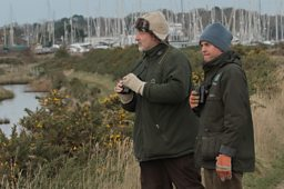 Pete Potts and Pete Durnell from the Hampshire County Council at the Lymington-Keyhaven Nature Reserve
