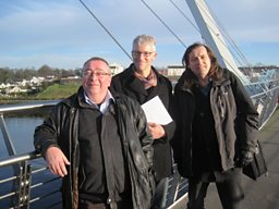 Dr Billy Kelly, Tom Holland &amp; Dr Eamonn OCiardha on the Peace Bridge in Derry