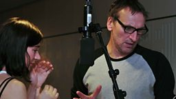 Christopher Eccleston and Pippa Nixon in studio