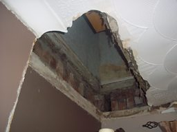 Damaged ceiling in Barbara Davies' house