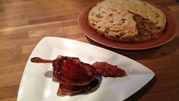 Rhubarb Bread & Pomegranate Glazed Pork Chops with Spiced Rhubarb & Almond Chutney