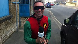 Rowan Bridge dressed as Robin