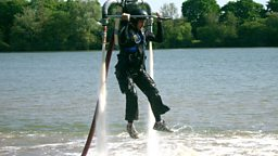 Jem Stansfield flies his water-powered jet pack