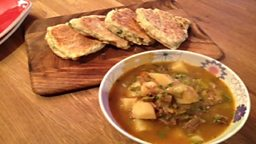 Rich Beef & Lumper Potato Soup with Potato & Scallion Griddle Scones