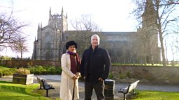Sara Wheeler with Thomas Moffat by Dunfermline Abbey