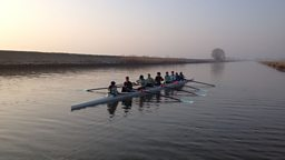 Cambridge Ladies rowing team on the river