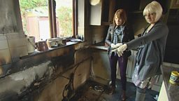 A dishwasher fire devastated a Powys family's home.