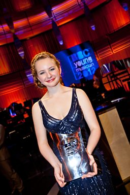 Laura van der Heijden with the BBC Young Musician trophy
